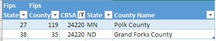 Screenshot from Excel spreadsheet displaying which counties are included in a particular CBSA.  This shows that Polk County, Minnesota and Grand Forks County, North Dakota are the counties in CBSA 24220.