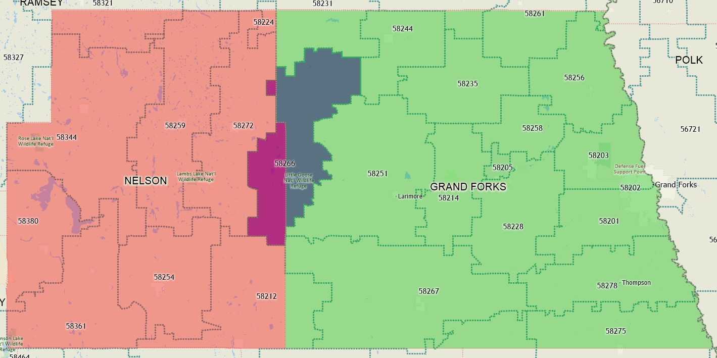 Map showing that zip code 58266 spans Grand Forks County and Nelson County. Residents with a zip code of 58266 residing in Nelson County would count towards the credit union's low-income designation because Nelson County is not part of the 24220 CBSA code.  For those residents of Grand Fork County with a zip code of 58266, they would not qualify because Grand Forks is part of the 24220 CBSA Code.