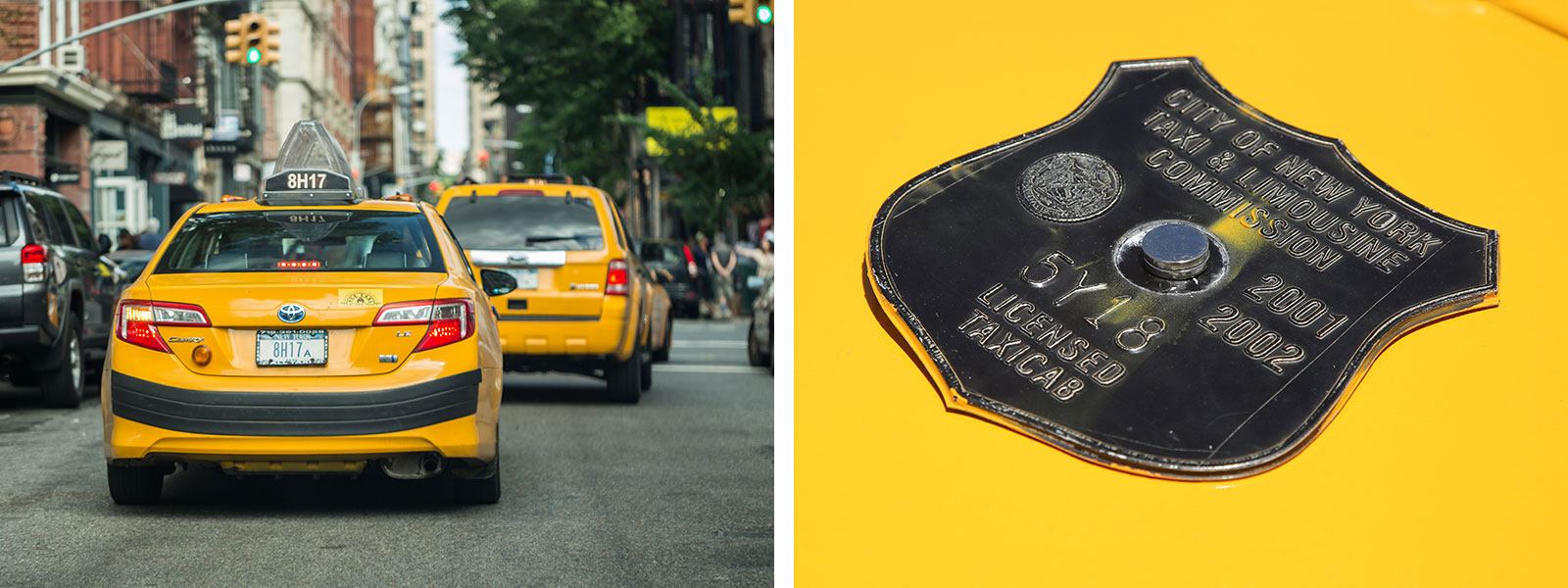 Left: Taxi cabs driving through the streets of New York City. Right: A New York City taxi medallion is pictured.
